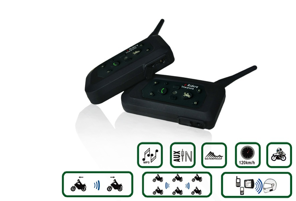 2PCS Free shipping 1200M Motorcycle Bluetooth Helmet Intercom for 6 riders BT Wireless Waterproof Interphone Headsets