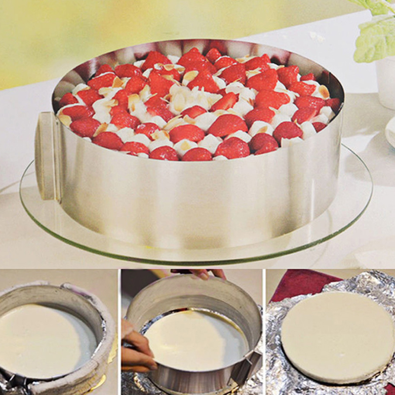 Hot Sale Retractable Stainless Steel Circle Mousse Ring Baking Tool Set Cake Mould Mold Size Adjustable Bakeware 16-30cm(China (Mainland))