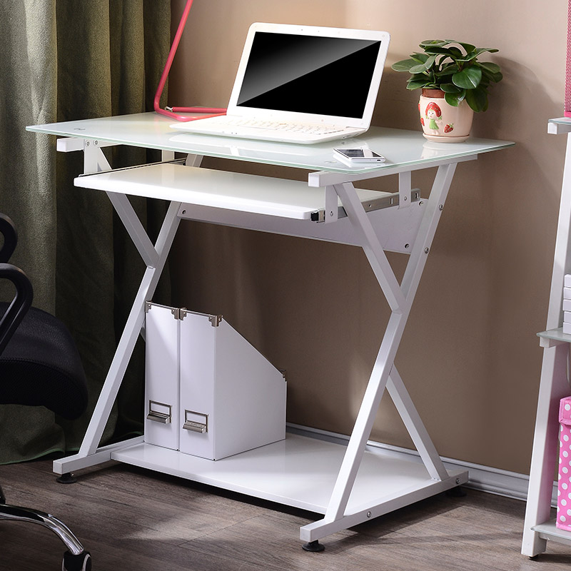 Computer desk IKEA small simple home desk modern simple desk toughened glass desk(China (Mainland))