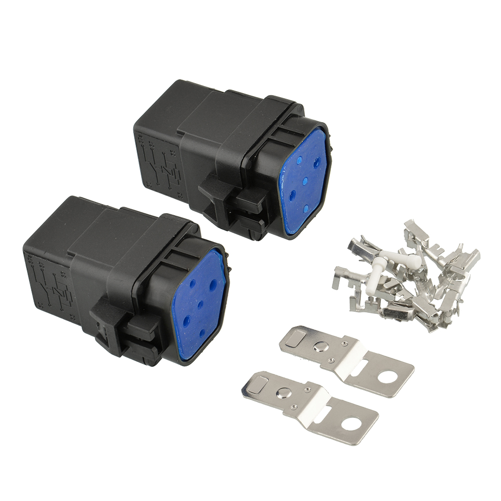 Universal 2 sets Waterproof Integrated 12v 40A 4pin Auto Relay and Relay Holder SocKets For Car Truck Boat Free Shipping(China (Mainland))