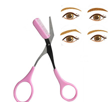Eyebrow scissors! 2015 Newest Makeup Scissors Stainless Steel Eyebrow Trimmer Comb Eyelash Hair Manicure Eye Cosmetic Tool(China (Mainland))