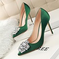 New Spring Summer Women Pumps Elegant Buckle Rhinestone Silk Satin High Heels Shoes Heeled Sexy Thin