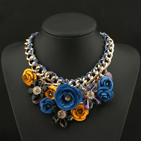OnSello Statement Choker Flower Necklace Crystal Chunky Collar Pendant Fashion Jewelry For Women Wedding Party