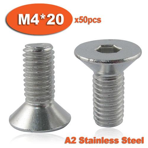 50pcs DIN7991 M4 x 20 A2 Stainless Steel Screw Hexagon Hex Socket Countersunk Head Cap Screws<br><br>Aliexpress