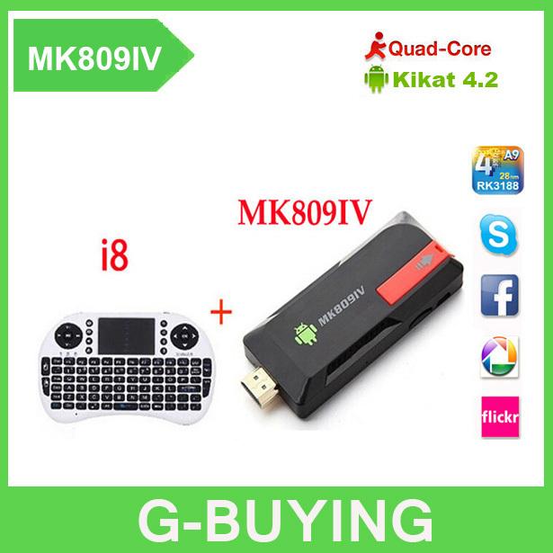 Android TV stick MK809IV + Wireless keyboard i8 Quad Core RK3188 2G/8GB Bluetooth Mini PC MK809 IV updated MK809III MK809 III(China (Mainland))
