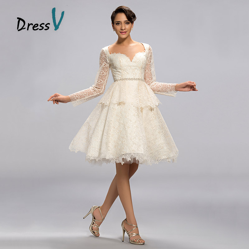 Romantic Knee-length White Short Lace Cocktail Dresses Vestidos De Noiva Sweetheart Long Sleeves for Wedding Party Occasion(China (Mainland))