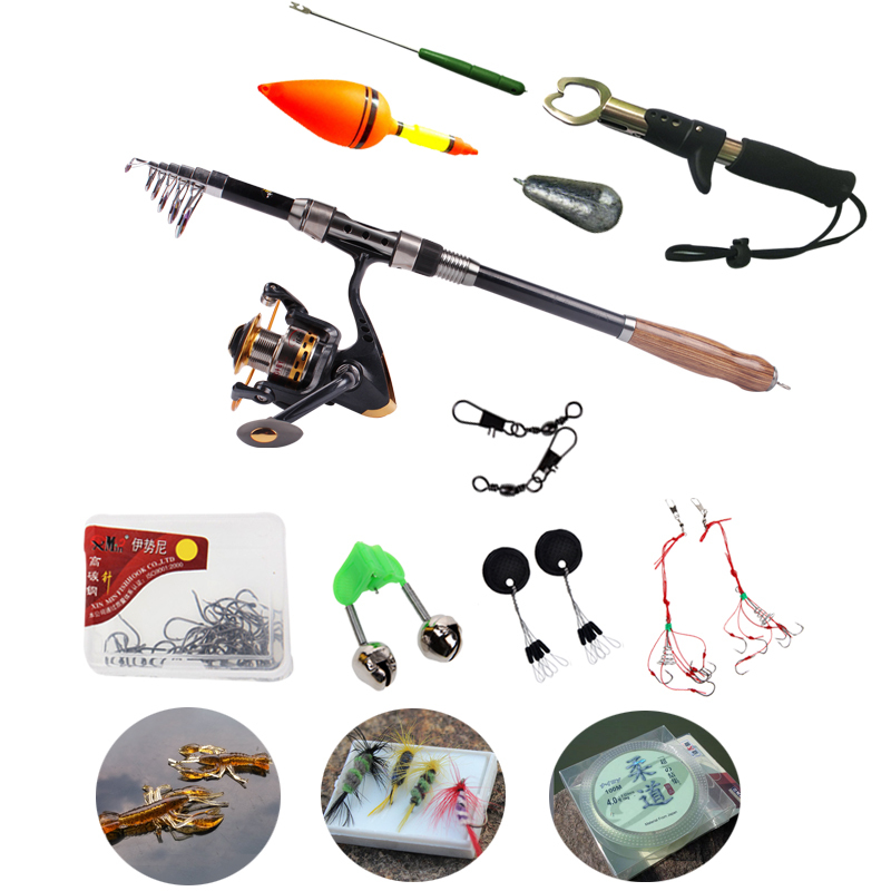 2.1-2.7M Portable Carbon Telescopic Fishing Rod And 13+1BB Spinning Fishing Reel Fishing Tackle Fly Carp Fishing Pole Combo Kit(China (Mainland))