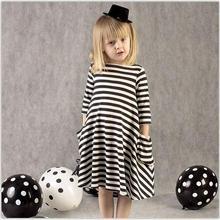 Girl Dress Princess 2017 Autumn New Stripe Dresses For Girls Kids Children School Clothes Toddler Girls Dresses Baby Clothing(China (Mainland))