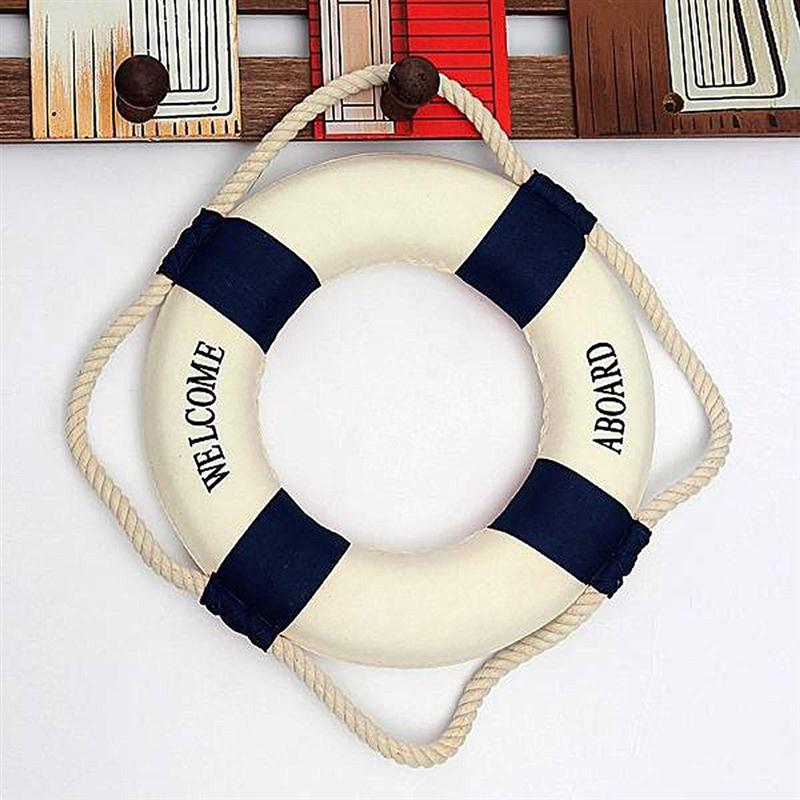 Nautical Mediterranean Style Decor Nordic Foam Ring Buoy Welcome Sign Wall Hanging Home Decoration Dark Blue Band(China (Mainland))
