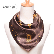 Women's Scarves Brand Satin Plaid 60*60cm Square Silk Scarf Printed Female Shawl Hijab - Zheming Accessories Co.,LTD. store