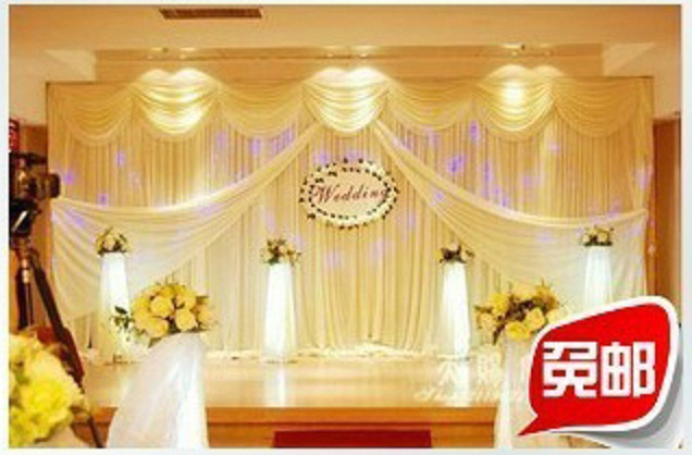 Wedding Stage Decoration With Clothes Backdrop Material Promotion For Promotional
