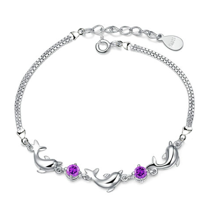 2016 Stylish Design Silver Plated CZ Diamond Bracelets For girls Herbal Crystal Amethyst Dolphin Chains Bracelets&Bangles