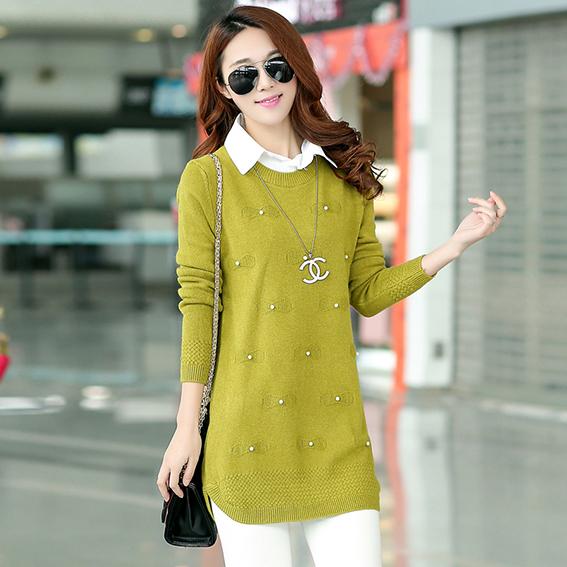 Hot 2015 зима свитер женщин пуловеры рубашка корейский мода большие широкий долго ...