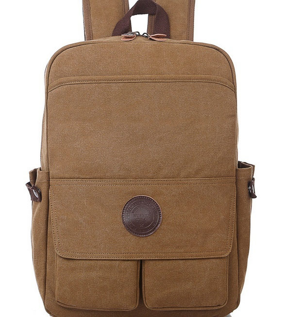 2015 new European and American fashion Men's backpack waterproof canvas bag leisure package travel bag computer bag(China (Mainland))