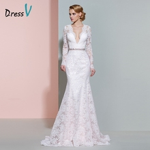 Buy Dressv ivory V-neck long sleeves wedding dress beading mermaid button floor length lace wedding dress elegant bridal dresses for $143.98 in AliExpress store