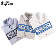 Buy 2017 spring summer men's letter printing long-sleeved 100% cotton shirt high-quality brand clothing Blue white gray Shirt 1821 for $15.99 in AliExpress store