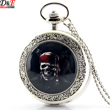 New Fashion Silver Pirates Skull in One Piece Steampunk Pocket Watch Necklace P677 Free Shipping