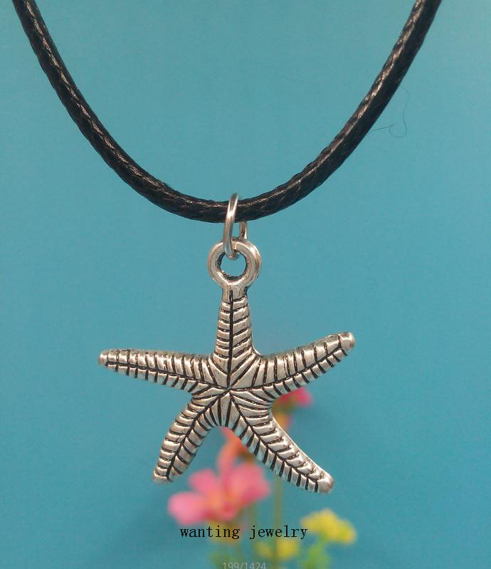New Fashion Jewelry Ocean Animals Starfish Antique Vintage Silver Pendants Necklace Collar Statement Jewelry For Women 10Pcs/lot(China (Mainland))