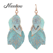 Fashion Leaf Jewelry Alloy with Sky Blue Enamel Leaves Dangle Earrings for Women(China (Mainland))