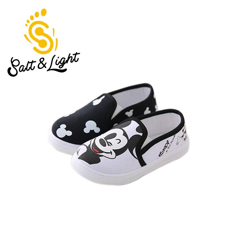 2016 hot sale Children's canvas shoes outdoor wear flat heels shoes cartoon Mickey KT casual shoes for Boys Girls size21-35(China (Mainland))