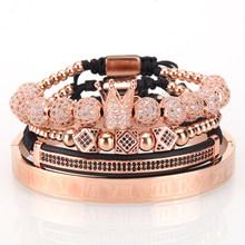 Mcilroy 4 sztuk/zestaw złoty bransoletka mężczyźni korona Pave CZ cyrkon ze stali nierdzewnej stalowe koraliki pleciony pleciona bransoletka luksusowe biżuteria Dropship(China)
