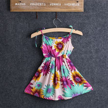 Dress Brand Girls Loose Dress Flower Casual Loose Children Floral Print Cute Sleeveless Summer Party Dresses