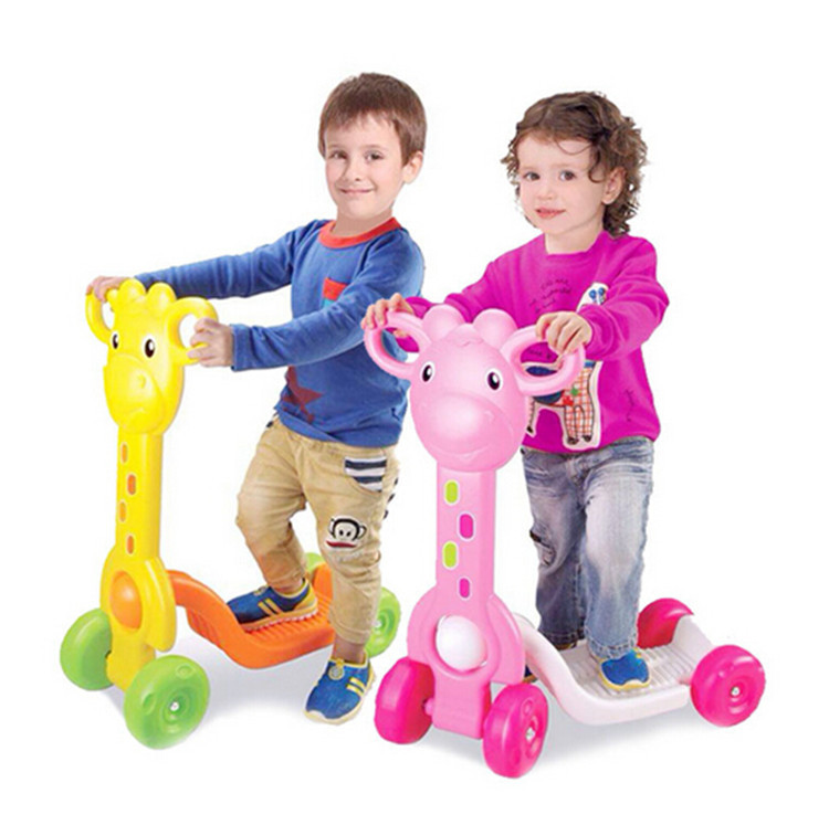 cartoon kids kick scooter/ walker fours wheels/foot scooters children outdoor ride toys