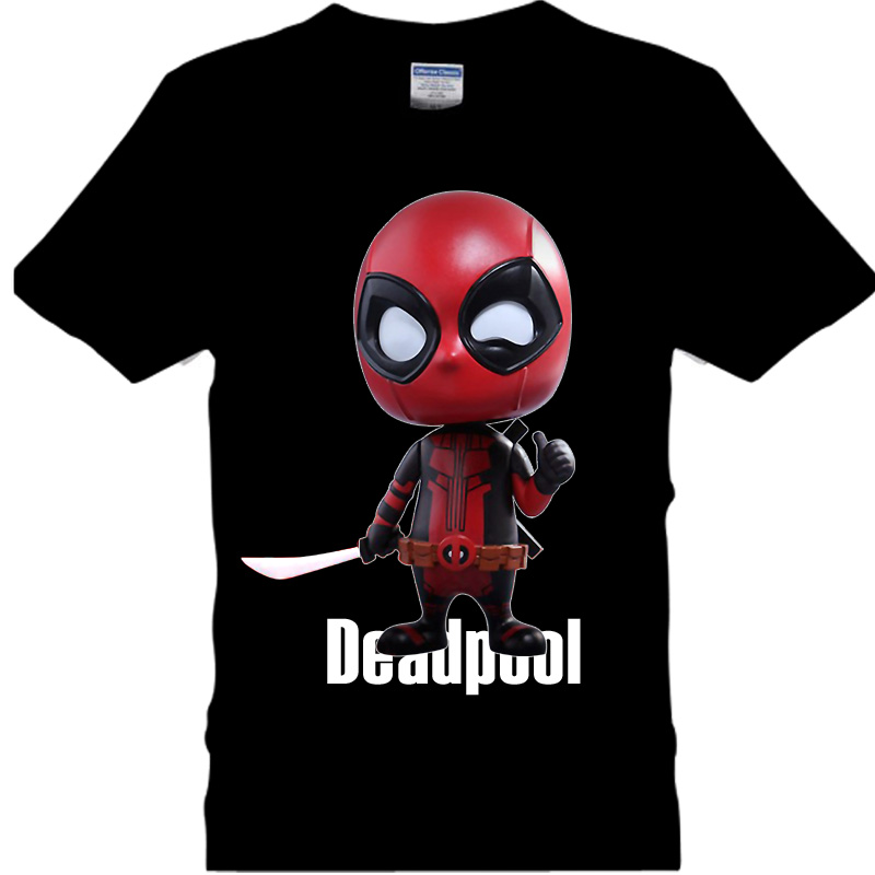 2016 NEW Marvel Animation Characters deadpool movie Q T Shirt Cotton casual lovers O neck t