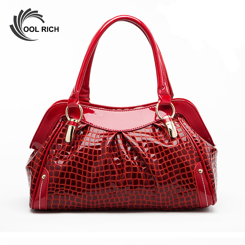 Фотография Vintage Women Bags Red Red Patent Leather Handbags Ladies Handbag Clutch Women Large Tote Bag  Messenger Bag  Bolsas De Marca