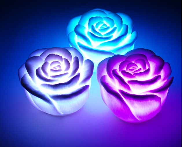 Colorful roses light a night light led novelty lamp night for Color changing roses