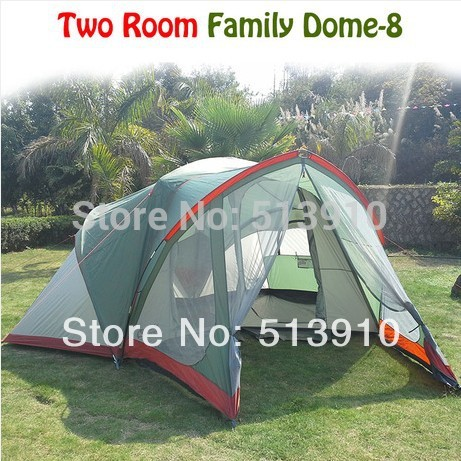 Luxury 2Room 1hall 8-10persons double layer large family camping tent in green and grey color<br><br>Aliexpress