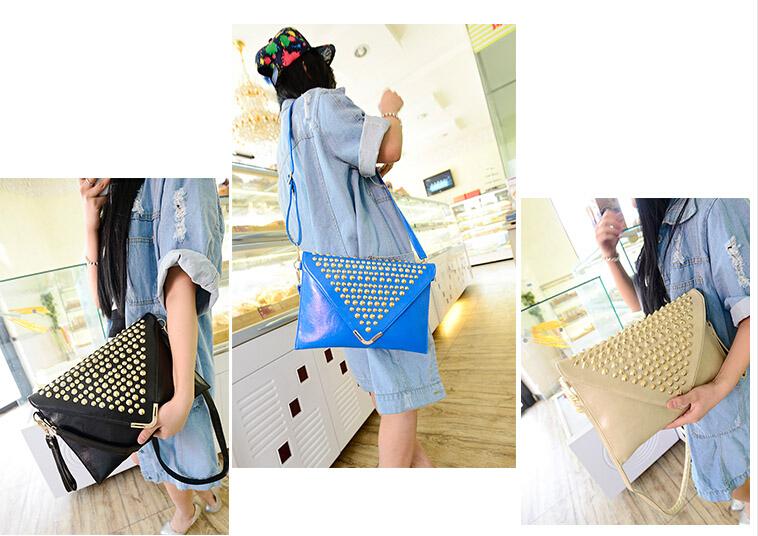 New High-quality Vintage message bags!Korean fashion handbag Women's envelope bag hand grip rivet Shoulder Messenger Carrybag(China (Mainland))