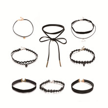 Buy 8pcs/set Gothic Black Velvet Tattoo Lace Choker Necklace Fashion Multi Layer Charm Women Chockers Necklaces Punk Jewelry for $1.99 in AliExpress store