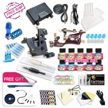 Top Free ship complete tattoo kit rotary tattoo machine  coils machine hot sales dragonhawk power supply 10 colors USA ink set(China (Mainland))