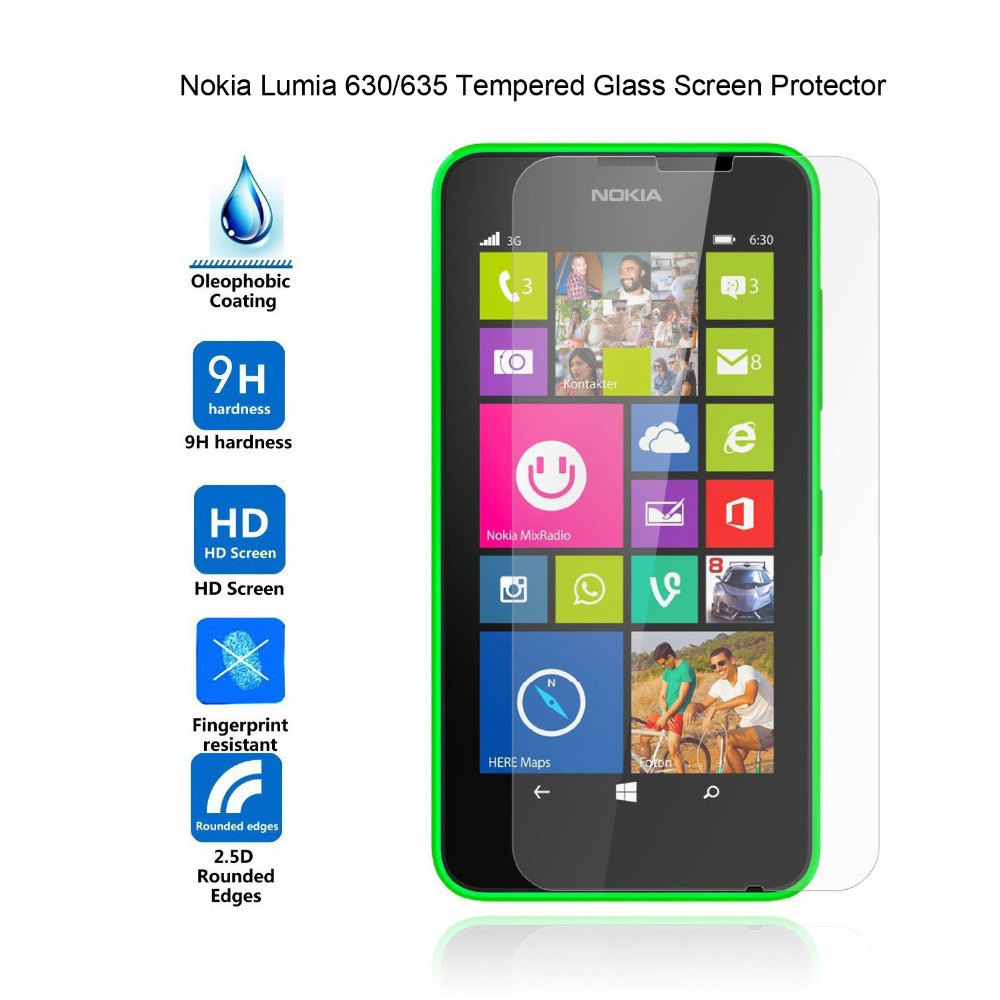 0 26mm Tempered Glass for Nokia Lumia 630 9H Hard 2 5D Arc Edge Ultra Thin