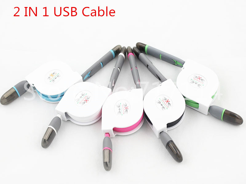 Newest 2in1 Micro USB 1m phone Cable Extendable Charging Cable for iPhone 5/5 c / 5 s / 6/6 s puls/the Air/Air 2 Samsung Android(China (Mainland))
