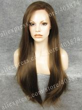 Free Shipping  Extra Long Straight Brown Color Synthetic  Lace Front Wig