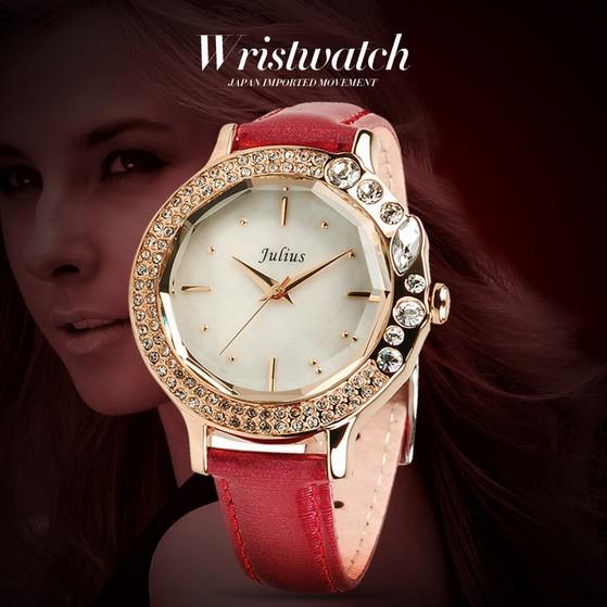 Korean fashion ladies quartz watches women dress watch Vintage diamond wristwatch leather strap full Alloy case - Di Da store