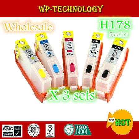 [3 sets wholesale]5 Color Empty Refill cartridge suit for HP178XL, suit for HP C6380/C6300/C5300/C5383/C5380/C6383/D5460 etc<br><br>Aliexpress