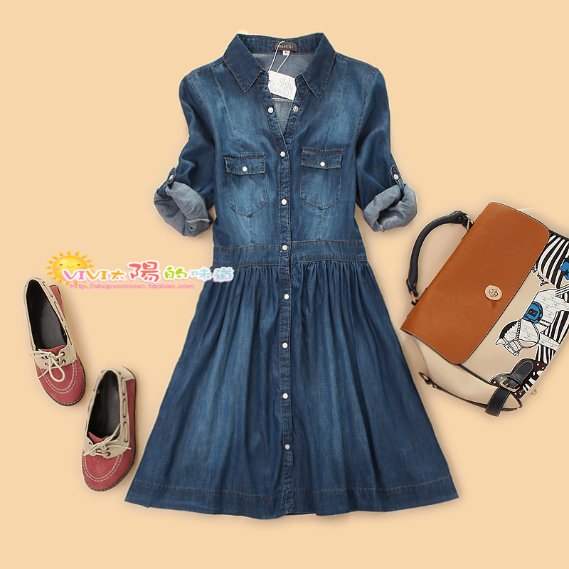 Large Size New 2014 Women Vintage Winter Dress Cute Denim Casual Women's Cardigan Washing Cowboy Jean 3XL 4XL  -  Carey Li's Plus store store