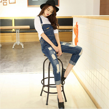 Women New Blue Pocket Hole Mill White Denim Jumpsuit 2016 Spring Ladies Korean Full Length Loose Bodycon Rompers Jeans Overall