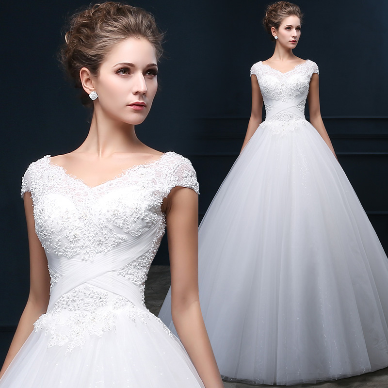 Wedding Dresses For Thin Brides : Thin v neck short sleeve sexy shoulder strap double puff