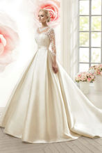 Buy Robe Mariage 2016 Custom Made Champagne Satin Appliques Beading Crystal Sash Lace Long Sleeve A-Line Wedding Dress Bride Dress for $223.00 in AliExpress store