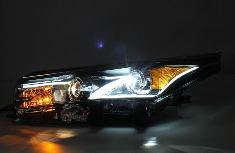 Car Styling Auto Headlight Headlamp For Toyota Corolla 2013 2014 2015 Bifocal Lens Guiding Light Best quality