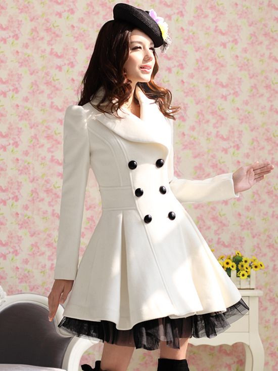2014 new fashion spring autumn winter white slanting stripe yarn expansion skirt bottom double breasted wool female overcoat(China (Mainland))