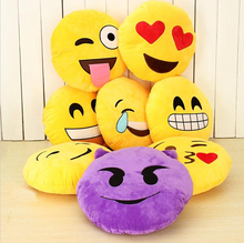 12 Styles Soft Emoji Smiley Emoticon Pillow Massager Yellow Round Cushion Pillow Stuffed Plush Toy Doll Travel Pillow 32*32CM(China (Mainland))