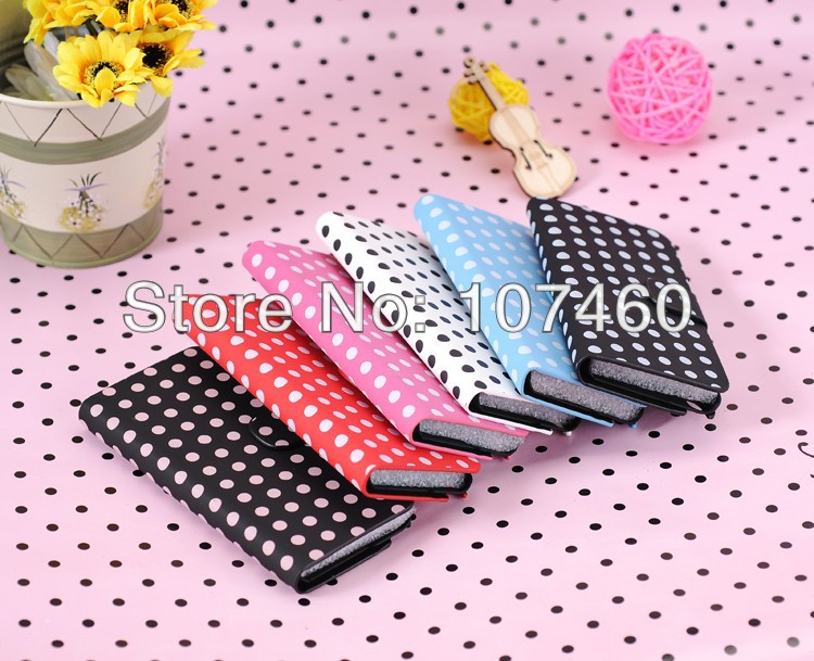 Polka dots Leather Wallet Case Cover For iPod Touch 5,For Touch 5 Flip Case With Stand Holder,50pcs/Lot DHL Free Shipping(China (Mainland))