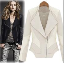2015 New Fashion Women Soft Pu Leather Jacket Black Zipper Coat Ladies Slim Crop Motorcycle Faux Outerwear S/M(China (Mainland))