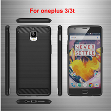 2017 Silicone mobile phone cases oneplus 3 3t case new shockproof Armor carbon fiber brushed Rugged cover - Onice store