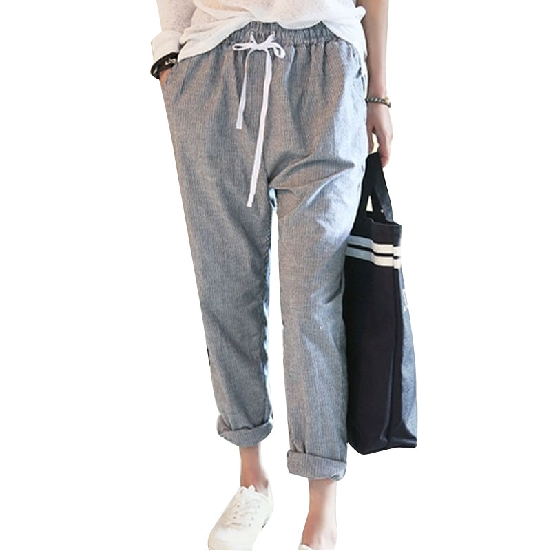 harem pants women 2016 summer casual elastic waisted cotton striped drawstring sweatpants plus. Black Bedroom Furniture Sets. Home Design Ideas